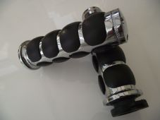 Chrome alloy grips with black pillow grip 1 inch bars, Harley and customs 022